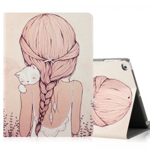 Girl with cat - iPad5 / 6 protective case Air2 holster cartoon