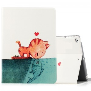 The cat loves the fish - iPad5 / 6 protective case Air2 holster cartoon
